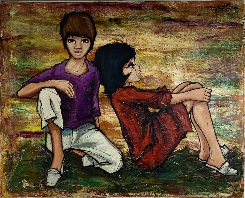 SIGNED 1963 POP ART CHILDREN PAINTING