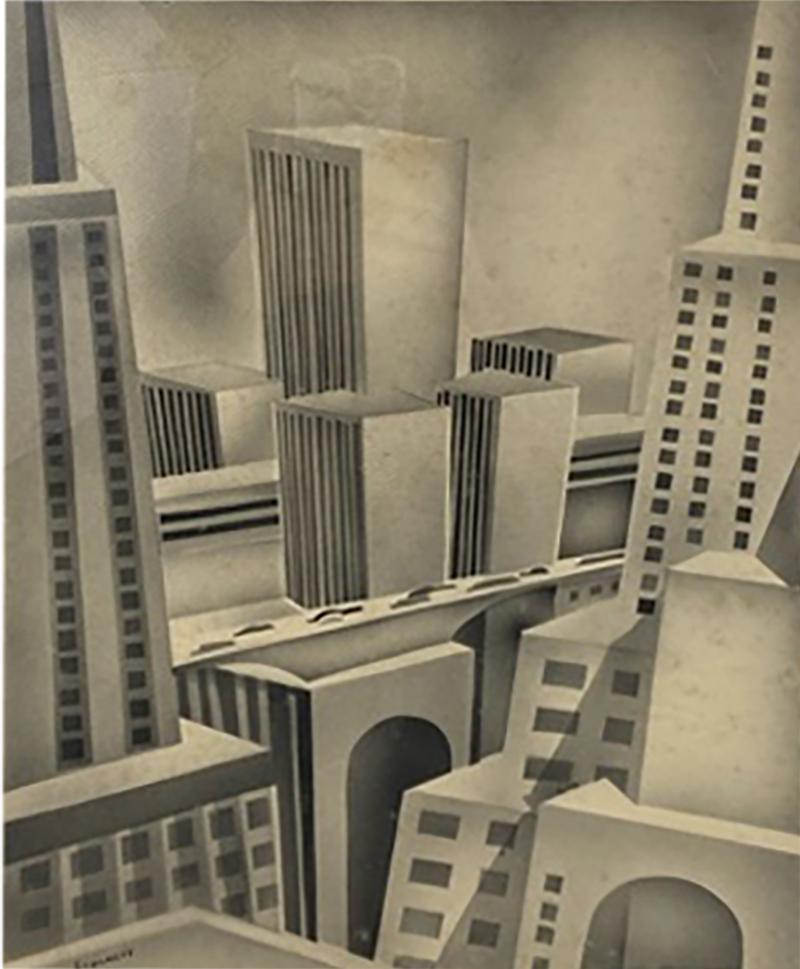 SIGNED ART DECO FUTURIST CITY BLACK AND WHITE WATERCOLOR