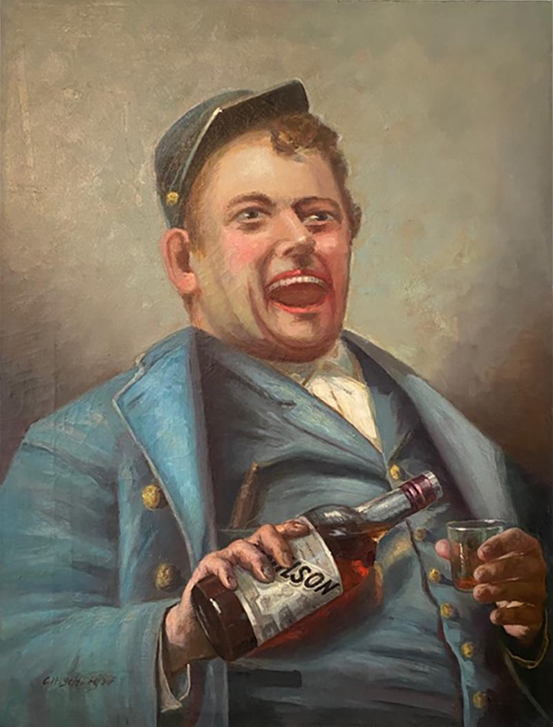 SIGNED DRINKING CIVIL WAR SOLDIER WITH BOTTLE OF BOURBON PAINTING