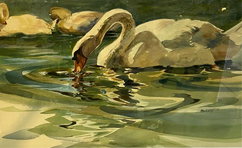 SIGNED MODERN SWANS WATERCOLOR