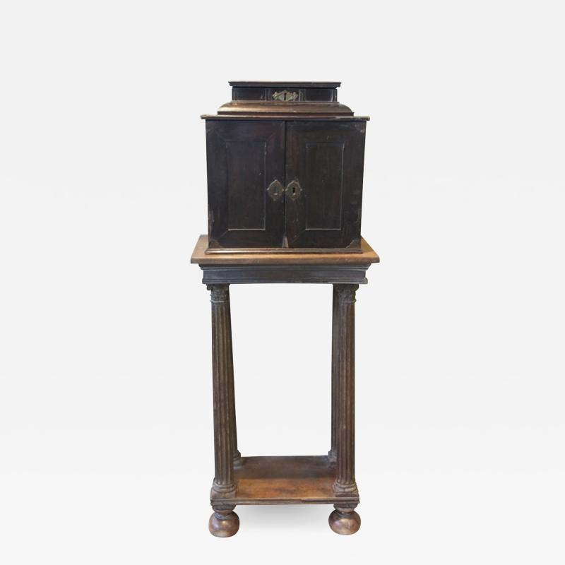 SIR WALTER SCOTT FLEMISH EBONY VENEERED TABLE CABINET ON STAND