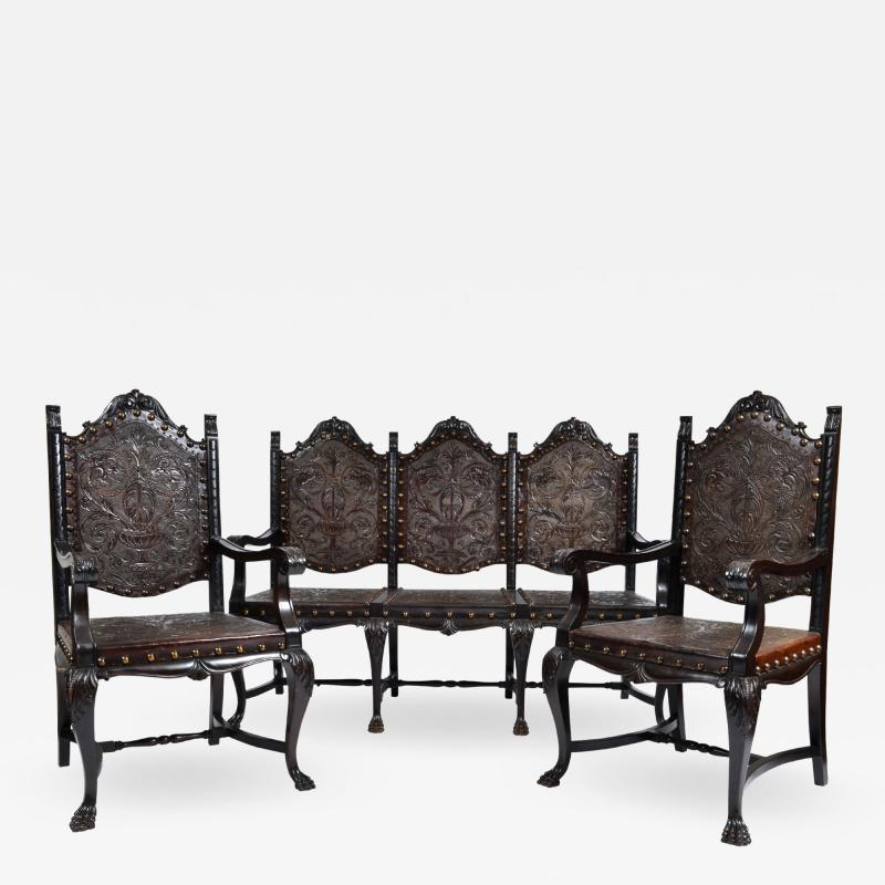 SPANISH COLONIAL PARLOR SET SETTEE ARM CHAIRS EMBOSSED LEATHER SPAIN 19TH C