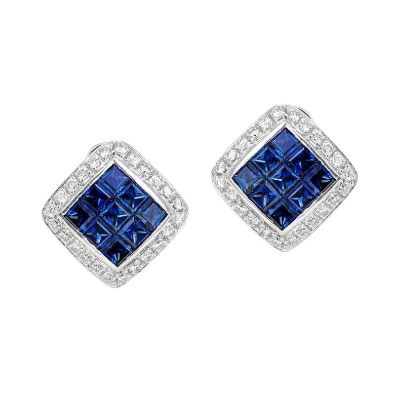 SQUARE 3 CT SAPPHIRE AND DIAMONDS 0 60 CARATS 18K WHITE GOLD EARRINGS