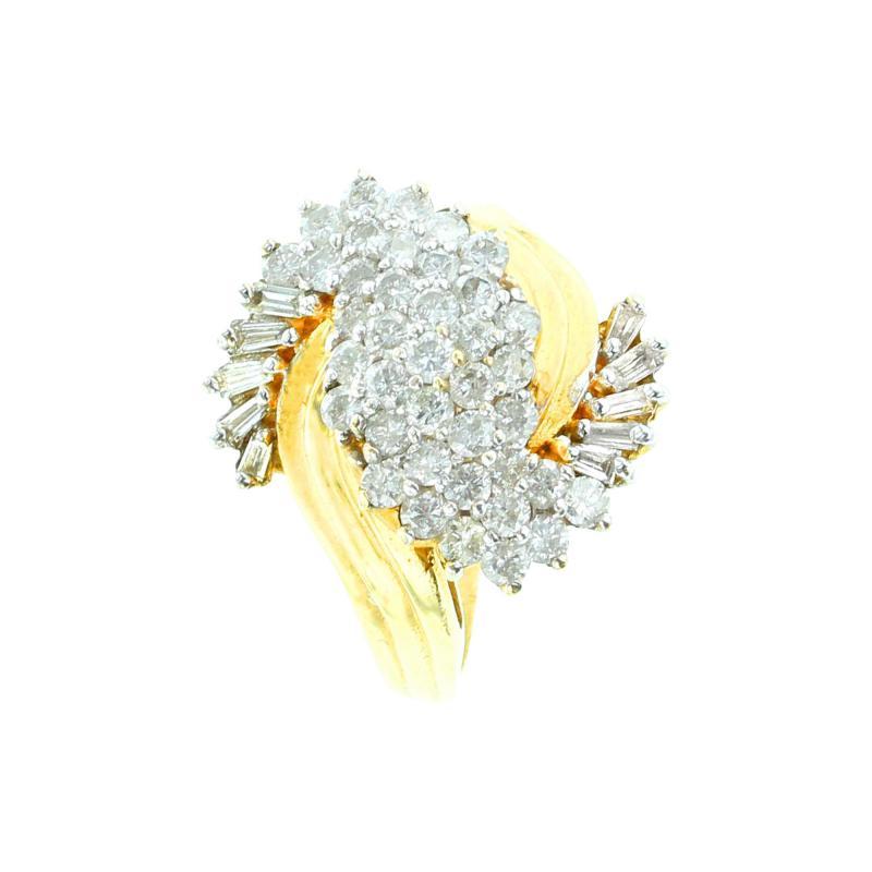 SWIRL SHAPE DIAMOND RING 14K YELLOW GOLD