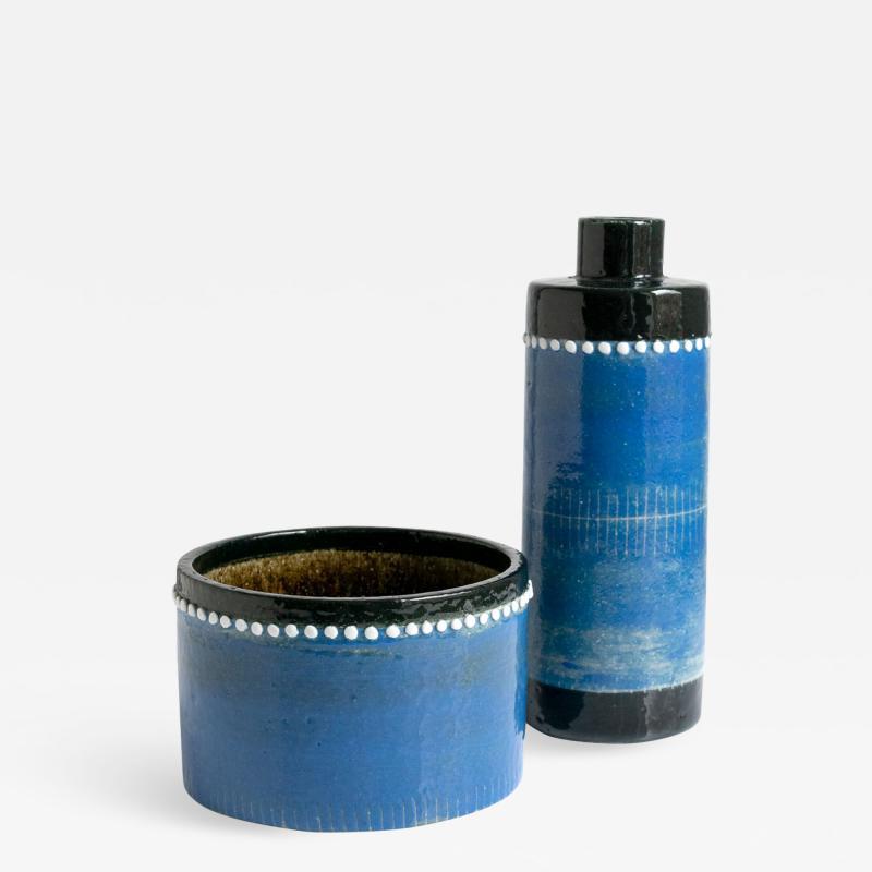 SYLVIA LEUCHOVIOUS Scandinavian MODERN SYLVIA LEUCHOVIUS VASE AND BOWL In blue Rorstrand Sweden