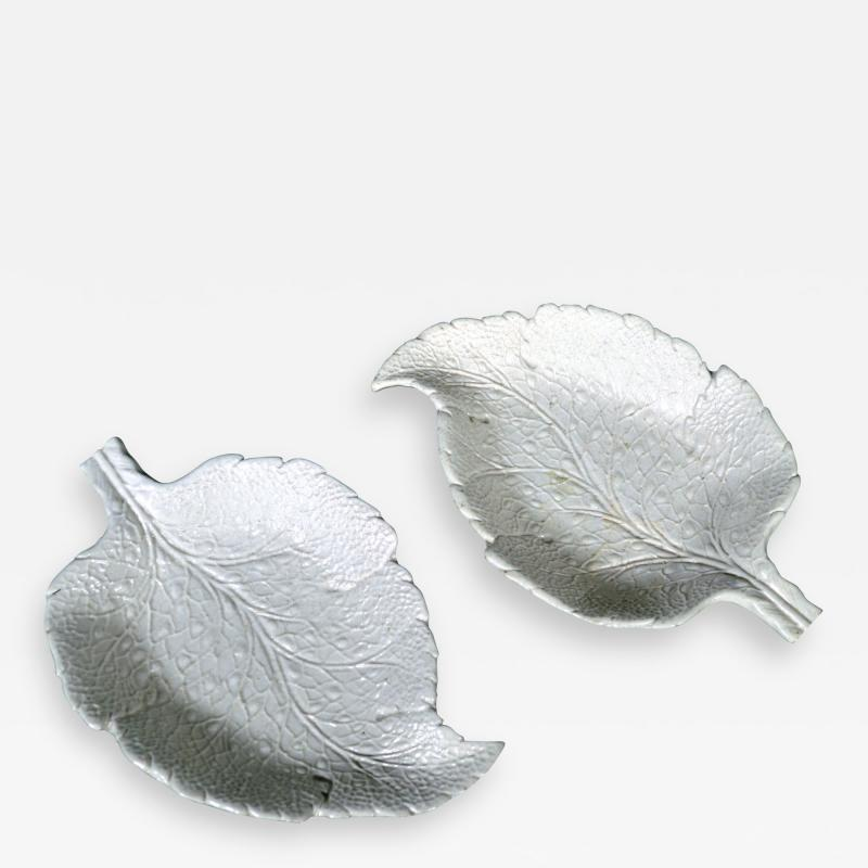 Saltglaze Stoneware Sweetmeat Dishes in the form of Vine Leaves A Pair