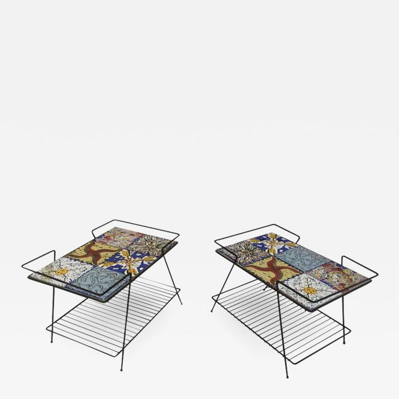 Salvador Dal Rare Pair of Salvador Dali Tile Side Tables