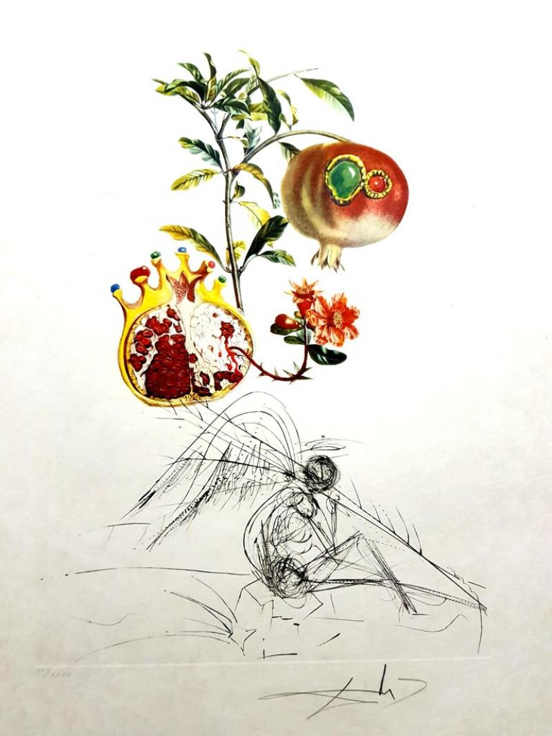 Salvador Dal Salvador Dali Angel and Pomegranate Original Hand Signed Lithograph