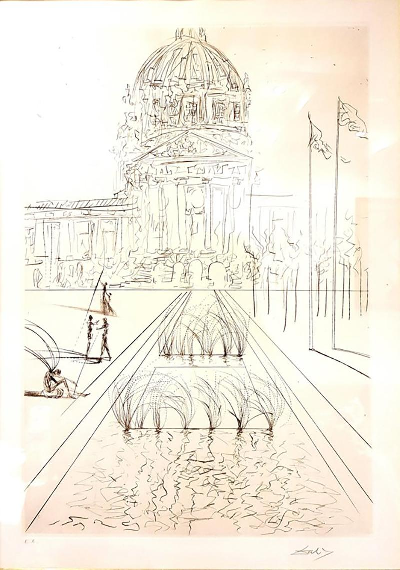 Salvador Dal Salvador Dali San Francisco City Hall Original Handsigned Etching