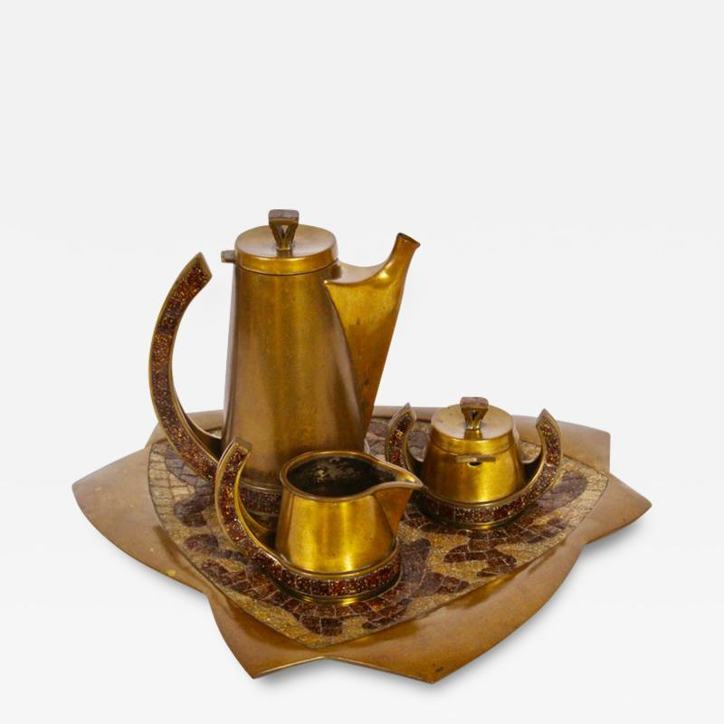 Salvador Teran Salvador Teran Brass and Copper Terrazzo Tile Seven Piece Tea Service 1950s