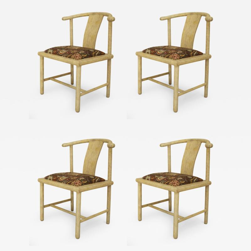 Samuel A Marx Set of 4 American Mid Century Modern White Parchment Side Chairs