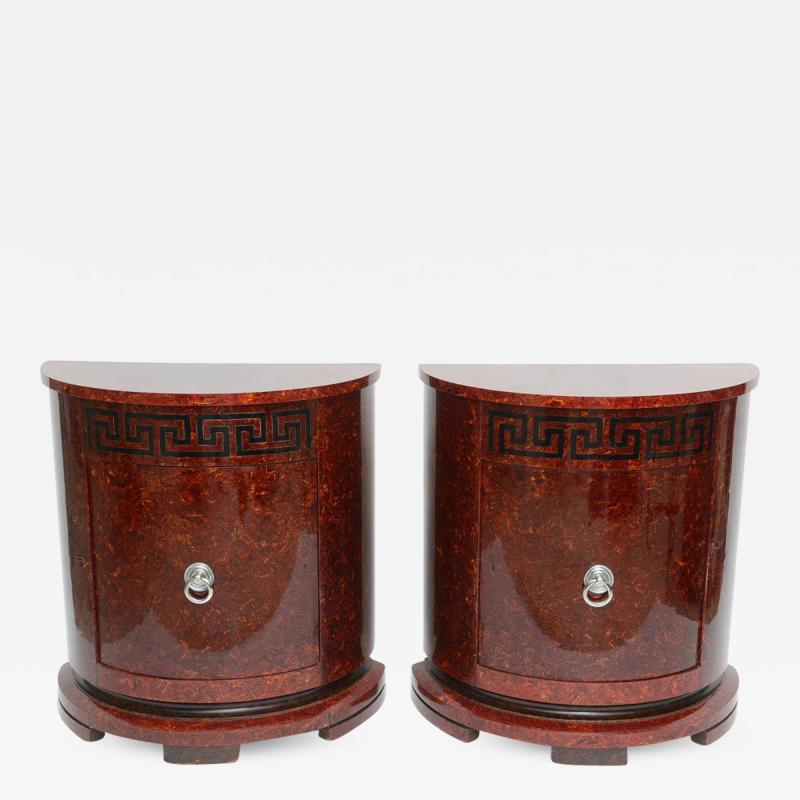 Samuel Marx Fine Pair of Faux Tortoise and Ebonized Demilune Cabinets Samuel Marx