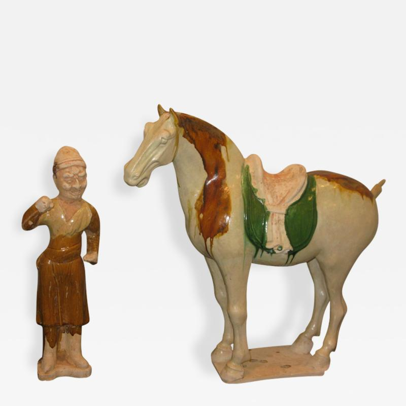 Sancai Glazed Pottery Horse with Western Attendant