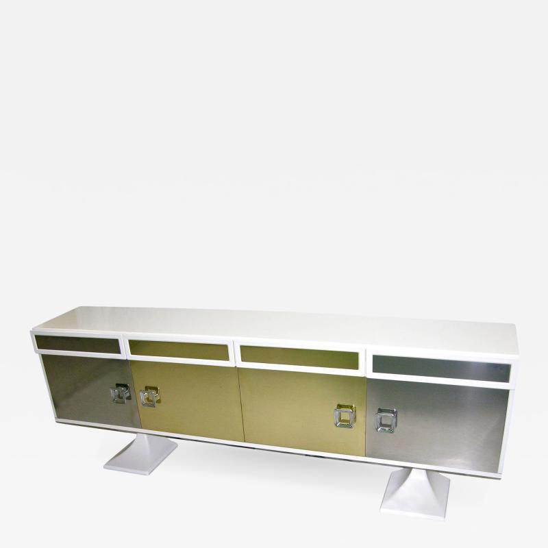 Sandro Petti Sandro Petti 1970s Italian Modern Chrome and Brass White Lacquered Credenza