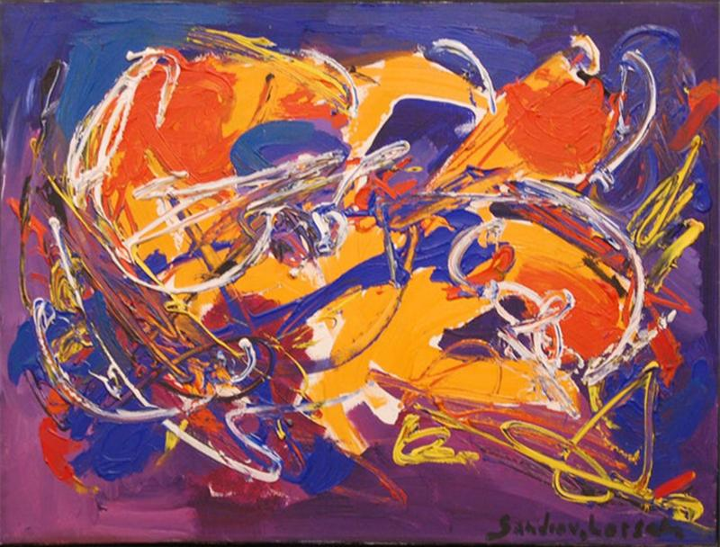 Sandro Von Lorsch Blue Orange Abstract Expressionist