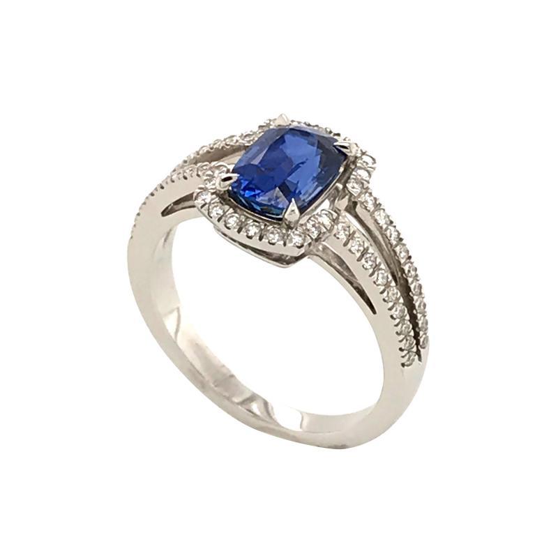 Saphir Ceylan and Whites Diamonds on White Gold 18 k Engagement Ring
