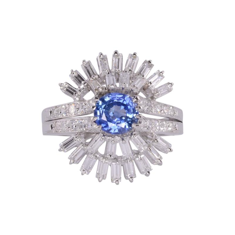 Sapphire Center Diamond Platinum Ring Size 7 5