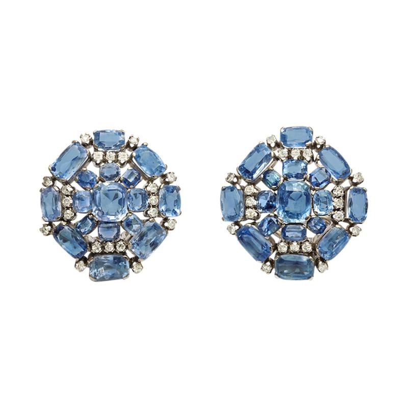 Sapphire Diamond Cluster Earclips