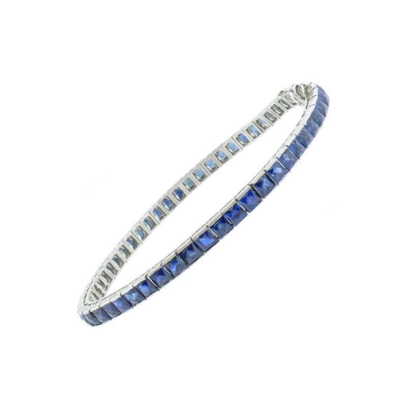 Sapphire Platinum Line Bracelet