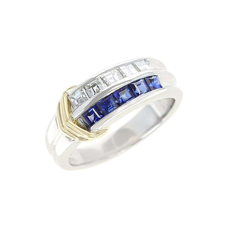 Sapphire and Diamond Channel Invisible Set Band Ring Two Yellow Gold Linings