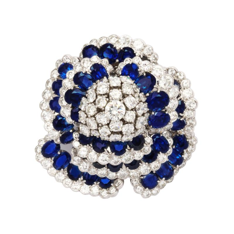 Sapphire and Diamond Flower Brooch