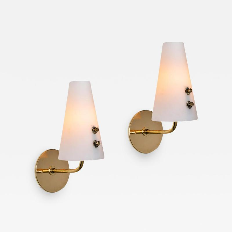 Sarfati Stilnovo 1950s Italian Brass and Glass Sconces Attributed to Stilnovo