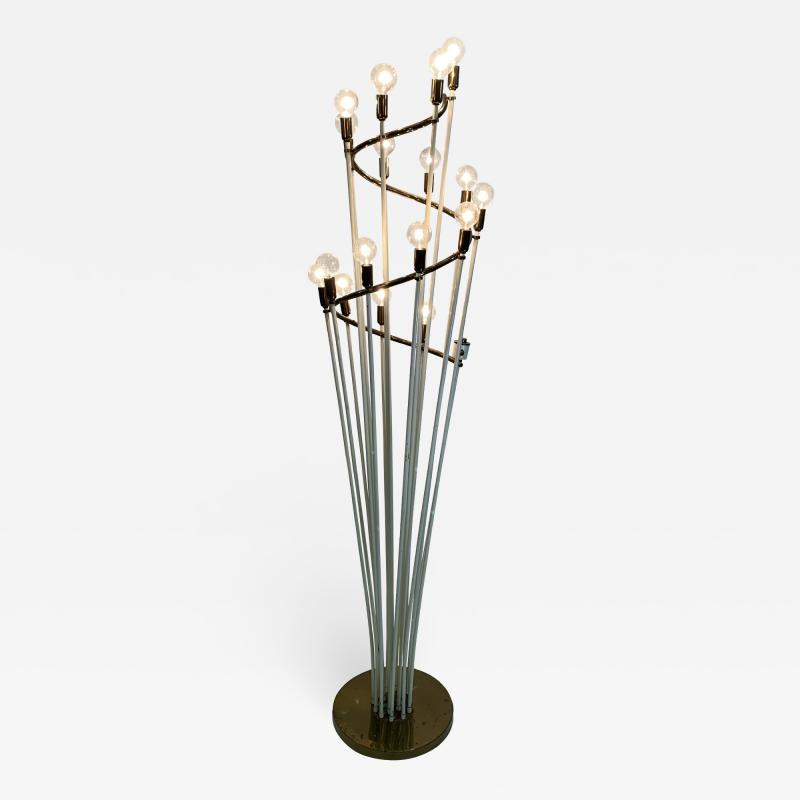 Sarfati Stilnovo MONUMENTAL MID CENTURY BRASS AND WHITE ENAMEL SPIRAL FLOOR LAMP