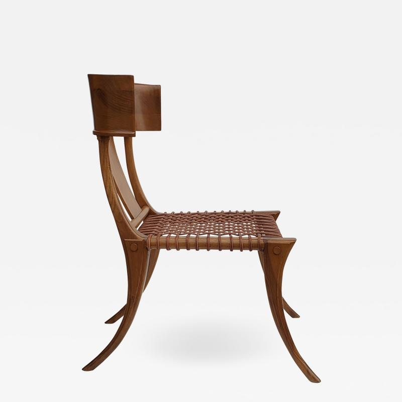 Saridis of Athens T H Robsjohn Gibbings Klismos Chair for Saridis of Athens in Walnut and Leather