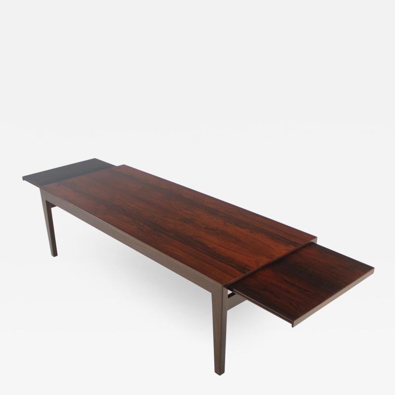 Scandinavian Modern Rosewood Coffee table w Pullouts on Each End