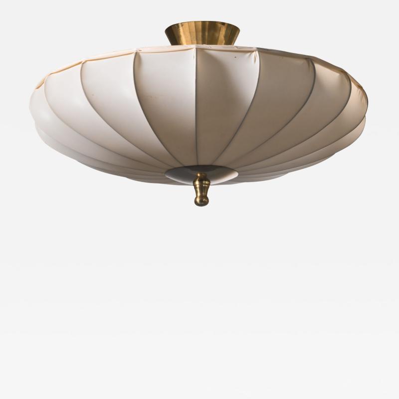Scandinavian Modern fabric and brass flush mount