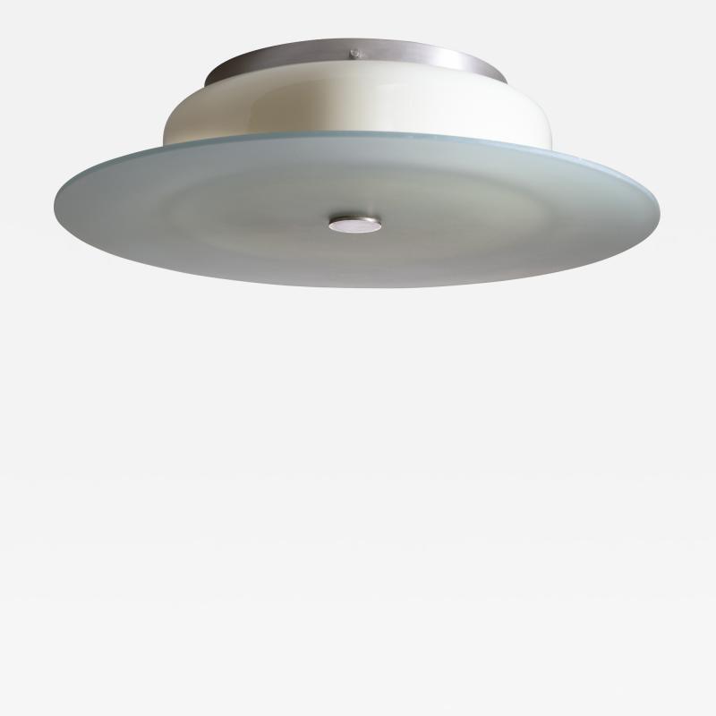 Scandinavian Modern green and yellow glass flush mount ceiling lamp