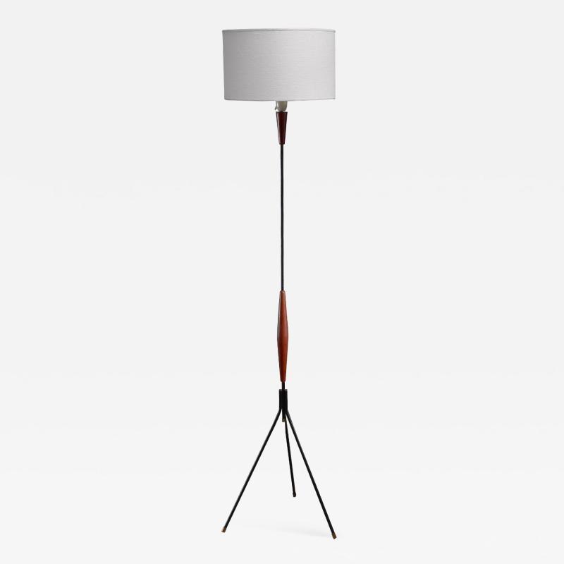 Scandinavian Modern metal and teak tripod floor lamp