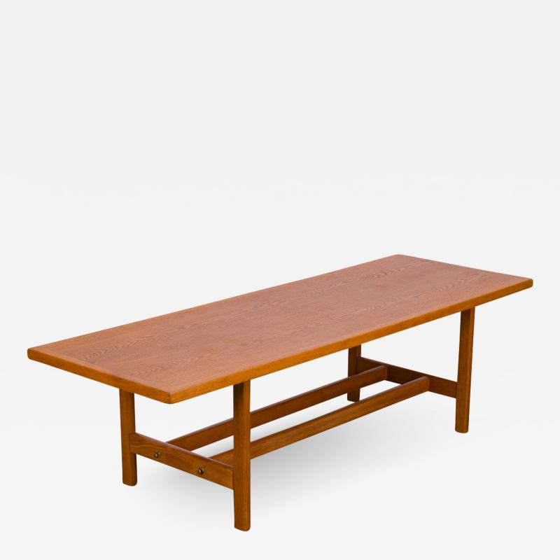 Scandinavian Rectangular Oak Coffee Table with Shelf