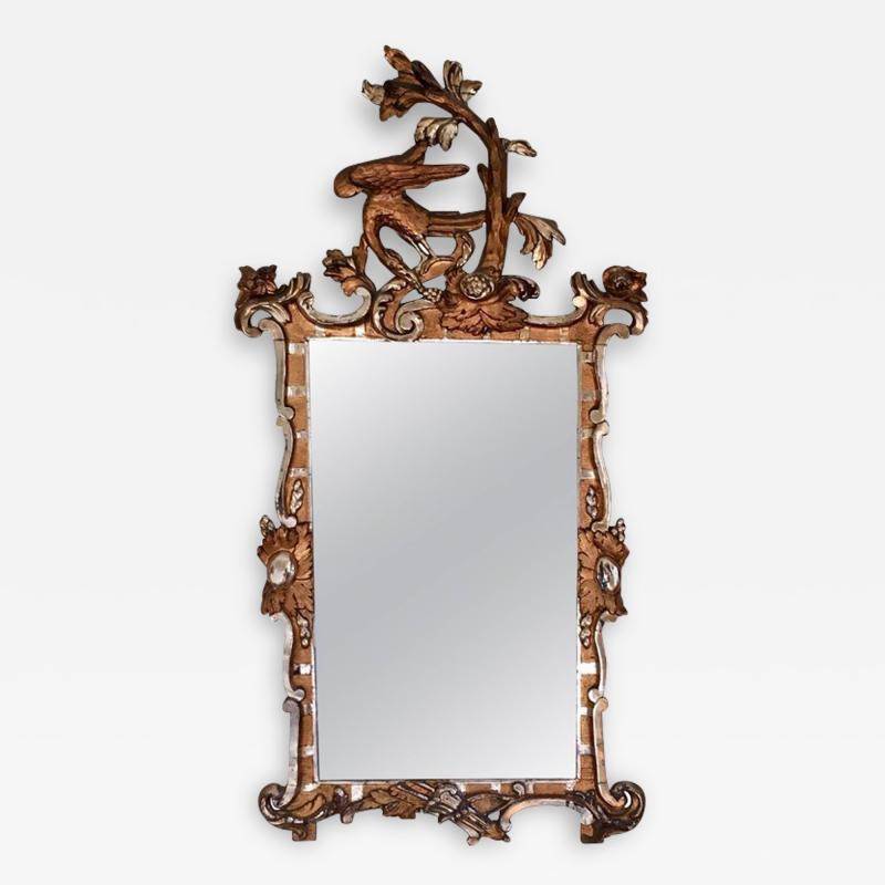 Schleswig Holstein 18th Century Giltwood Rococo Mirror with Ho Ho Bird