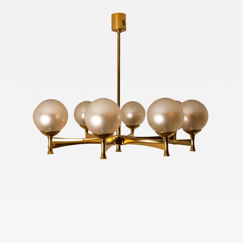 Sciolari Style Chandelier in Brass with Opaline Brass in the Style of Sciolari