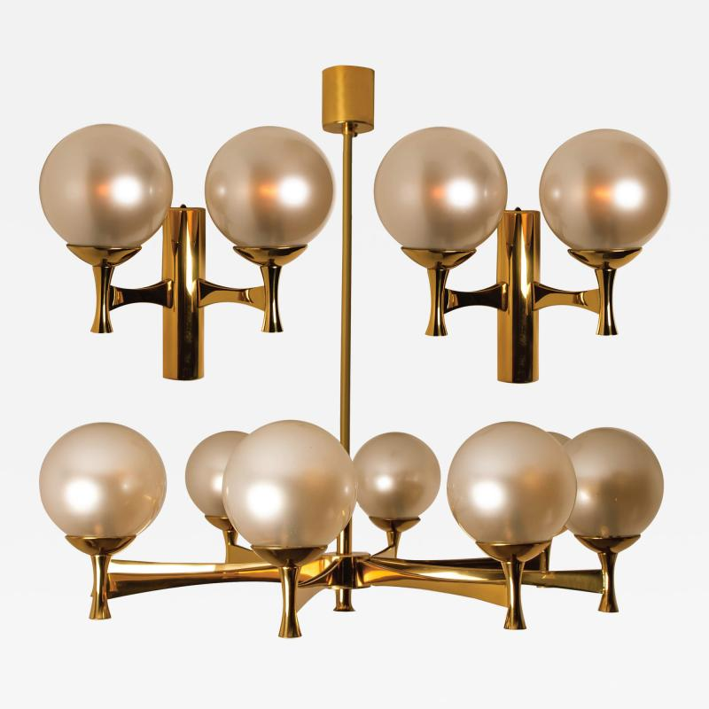Sciolari Style Set of 3 Opaline Brass Light Fixtures in the Style of Sciolari 1960
