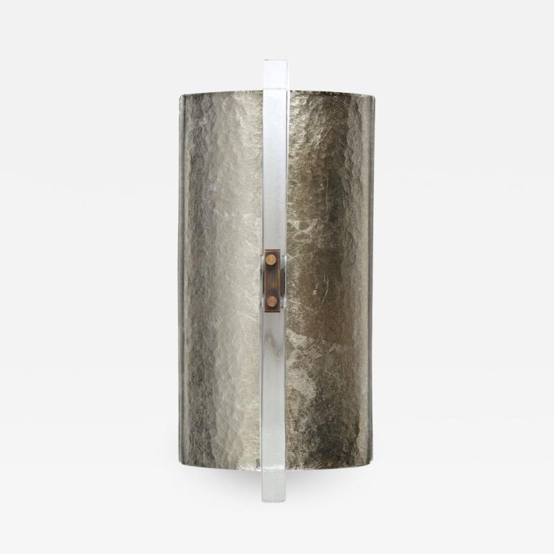 Scudo Sconce Champagne Textured Murano Glass White Gold Leaf Brass Detailing