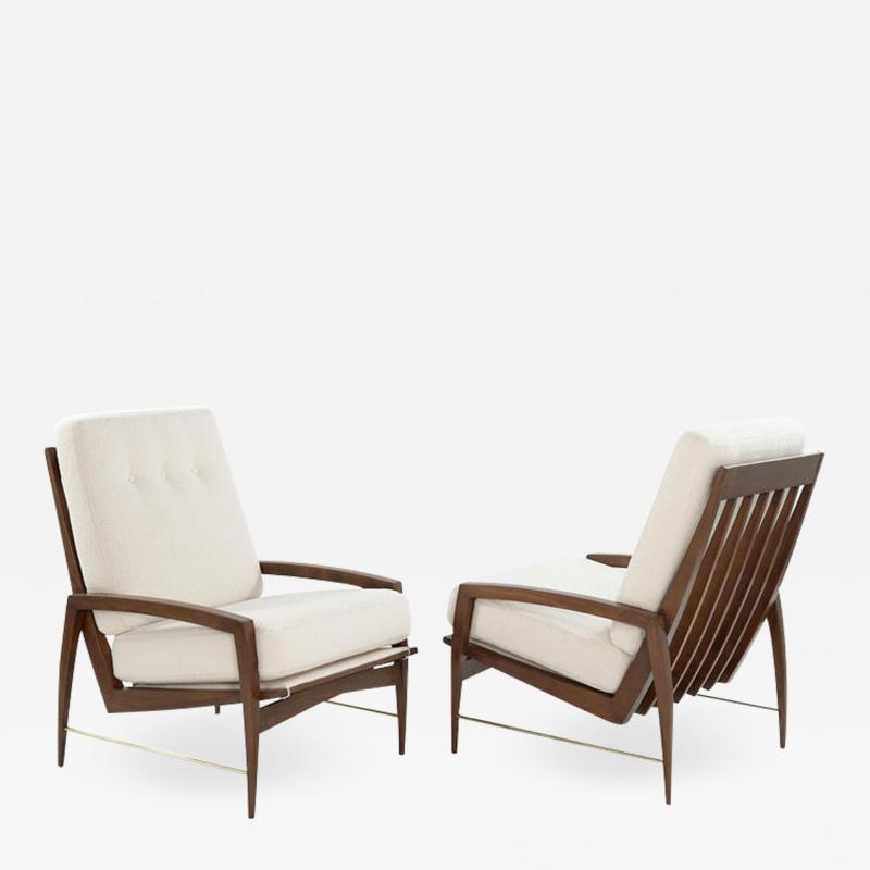 Sculptural Brass Accented Teak Lounge Chairs Denmark 1950s