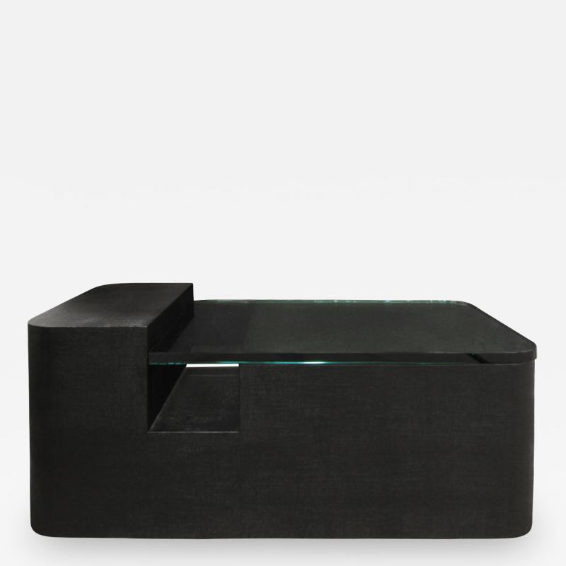 Sculptural Coffee Table in Black Lacquered Linen and Glass 1970s