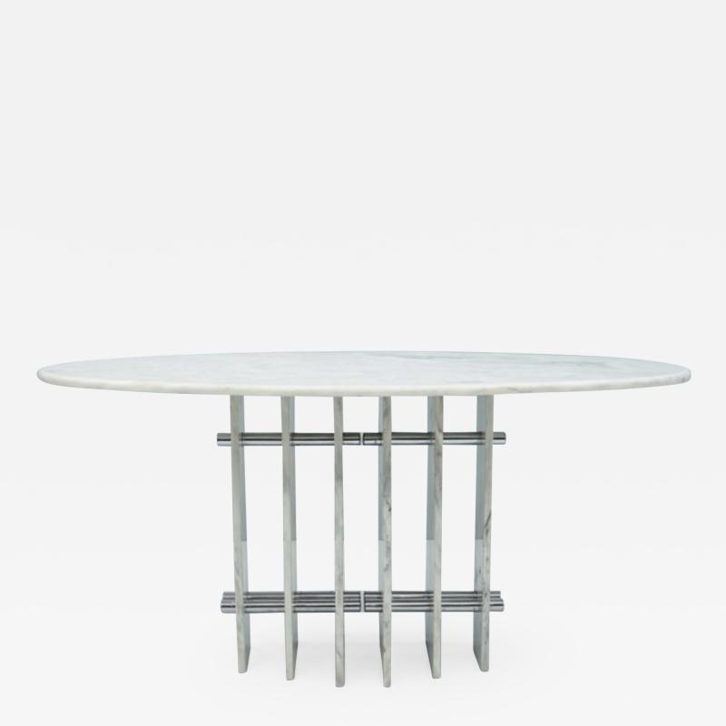 Sculptural Oval Dining Table in Carrara Marble and Chrome Italy 1970s