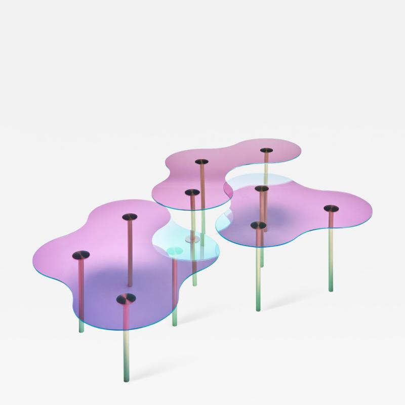 Sebastian Scherer Glass Coffee Table Ensemble of Three by Sebastian Scherer