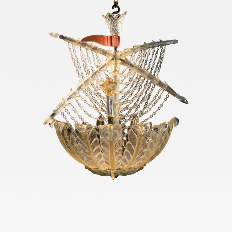 Seguso Vetri d Arte Murano galleon light by Seguso for Veronese