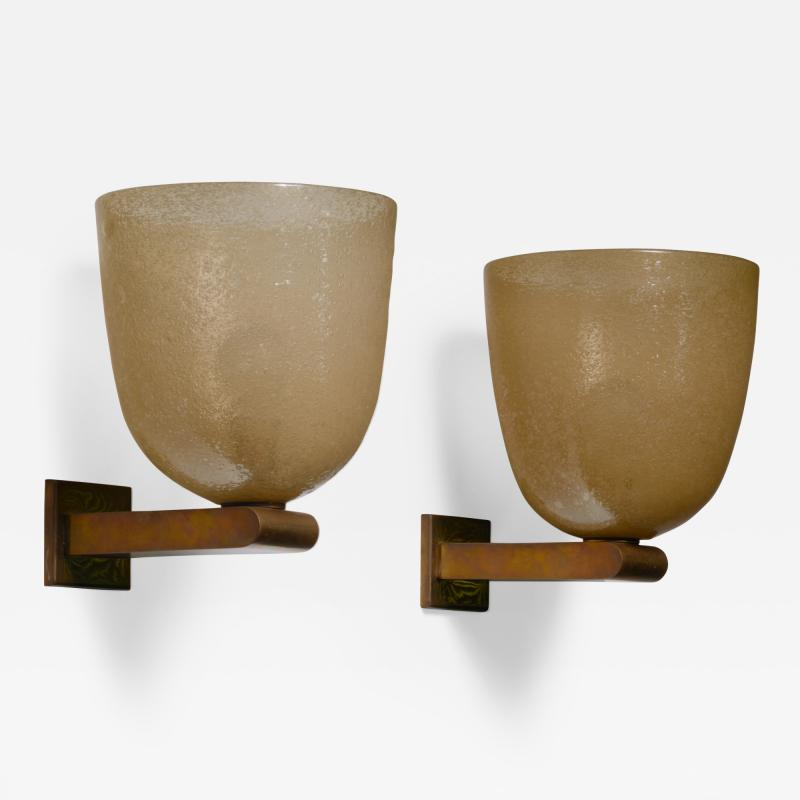 Seguso Vetri d Arte Pair of brass and amber glass pair of wall lamps by Seguso Murano