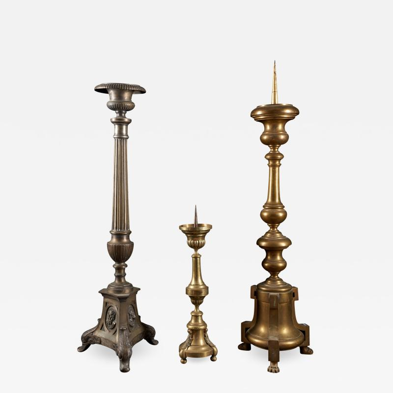 Selection of three 19th C Brass Classic Candleholders