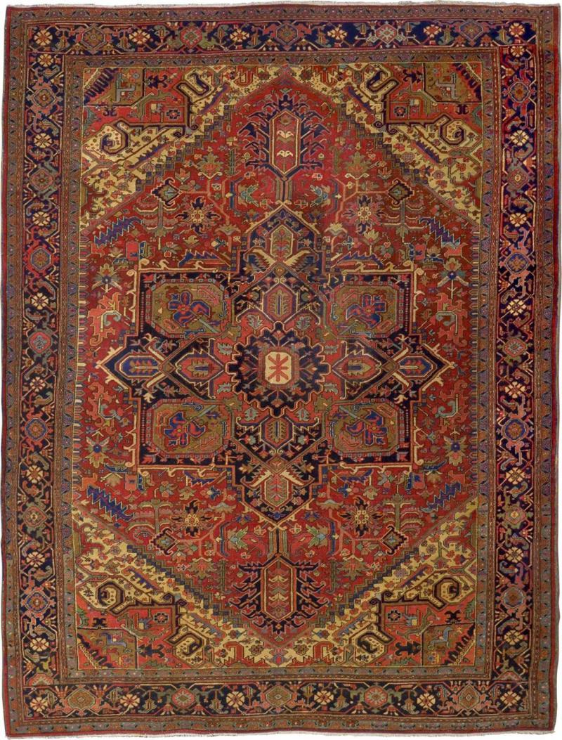 Semi Antique Room Size Heriz Rug w Serapi Colors c 1920 13 x 9 5