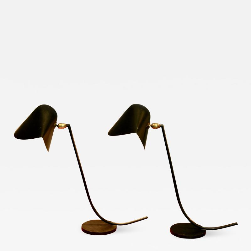 Serge Mouille Rare Pair of Antony Desk Lamps by Serge Mouille 1955
