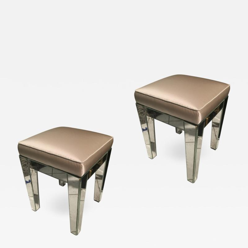 Serge Roche Serge Roche Pair of Mirrored Stools Newly Covered in Pale Pink Silk