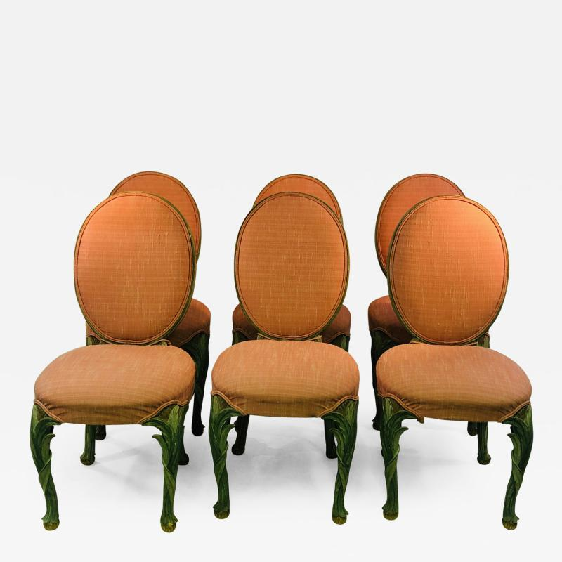 Serge Roche Set of Six Chairs with Carved Wood Frames in the Manner of Serge Roche