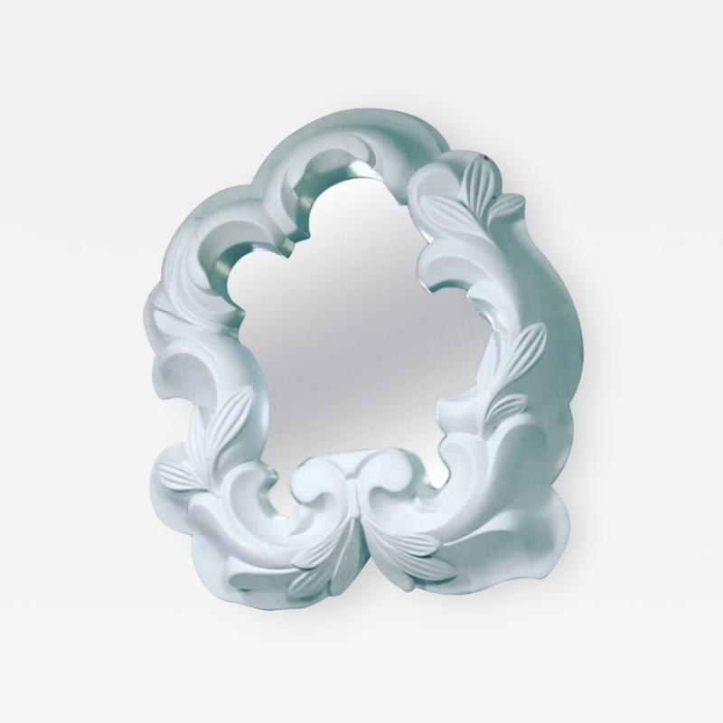 Serge Roche White Plaster Mirror in the Manner of Serge Roche