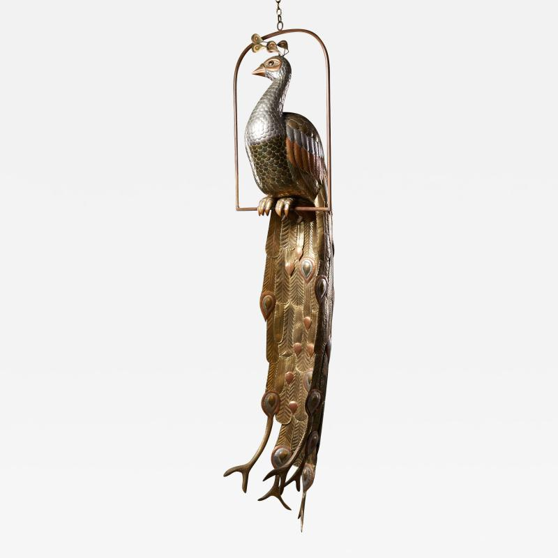 Sergio Bustamante Brass Peacock Sculpture